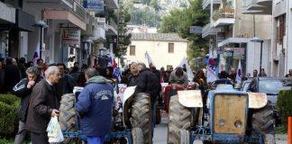 Πορεία αγροτών με τα τρακτέρ στο Άργος