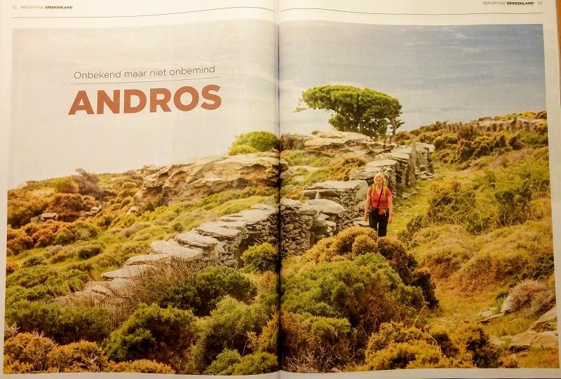 Αφιέρωμα στην Άνδρο στο μεγαλύτερο περιοδικό για πεζοπορία στην Ολλανδία