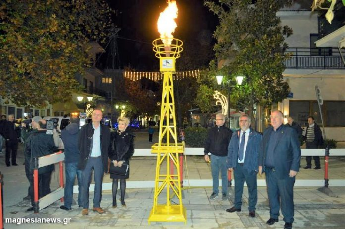 Τελετή αφής της φλόγας του φυσικού αερίου στο Βελεστίνο
