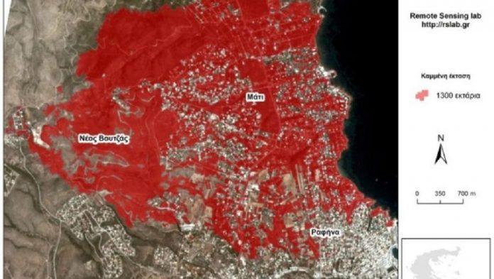 Το ΙΤΕ χαρτογράφησε τις φωτιές σε Μάτι και Βρύσες