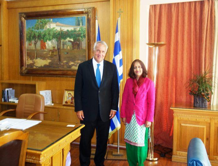 Συνάντηση Μ. Βορίδη με την πρέσβειρα της Ινδίας, Jain Shamma