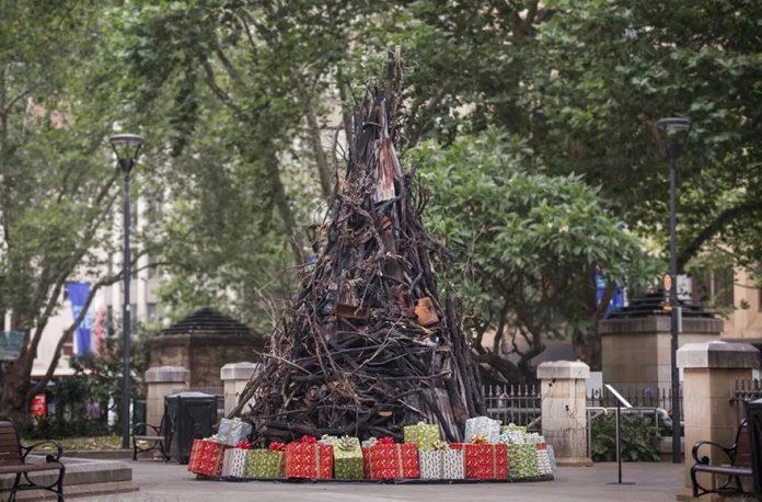 Αυστραλία: Ένα χριστουγεννιάτικο δέντρο φτιαγμένο από καμένους κορμούς των πρόσφατων πυρκαγιών