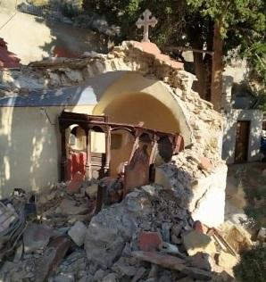 Βράχος καταπλάκωσε το Μοναστήρι του Αγίου Μερκουρίου στη Σύμη