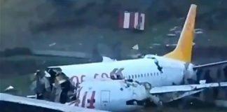 Αεροσκάφος βγήκε εκτός διαδρόμου και κόπηκε στα δύο σε αεροδρόμιο της Κωνσταντινούπολης
