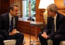 Μητσοτάκης-Τζεντιλόνι: Το Green Deal και η «πράσινη οικονομία» στα θέματα συζήτησης