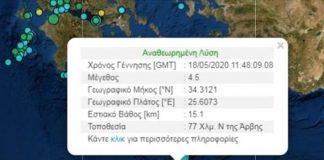 Δύο σεισμικές δονήσεις σήμερα στην Κρήτη
