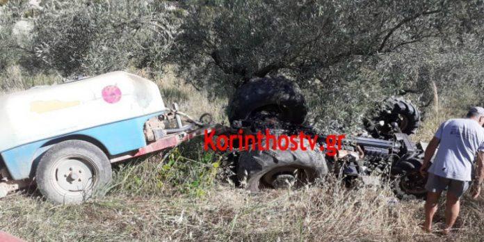 Ανατροπή τρακτέρ στο Καλέντζι Κορινθίας -Σώθηκε από θαύμα ο οδηγός